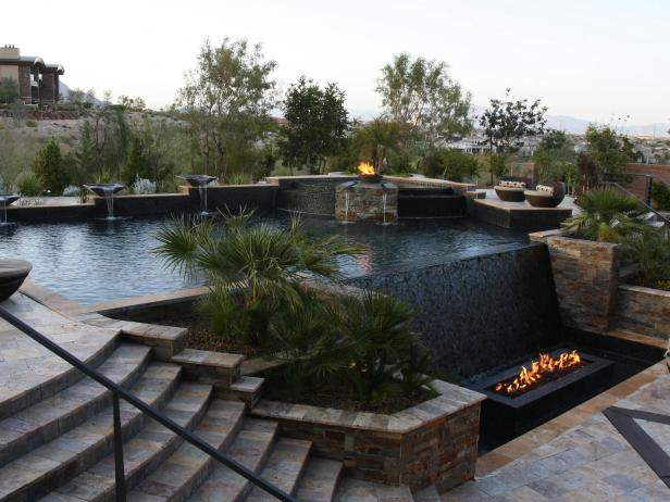 Backyard Pool with Waterfall and Fire Pits