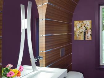 Curved Wooden Wall in Contemporary Bathroom