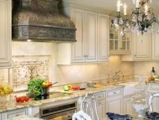 Traditional White Eat-in Kitchen With Antique-Style Range Hood