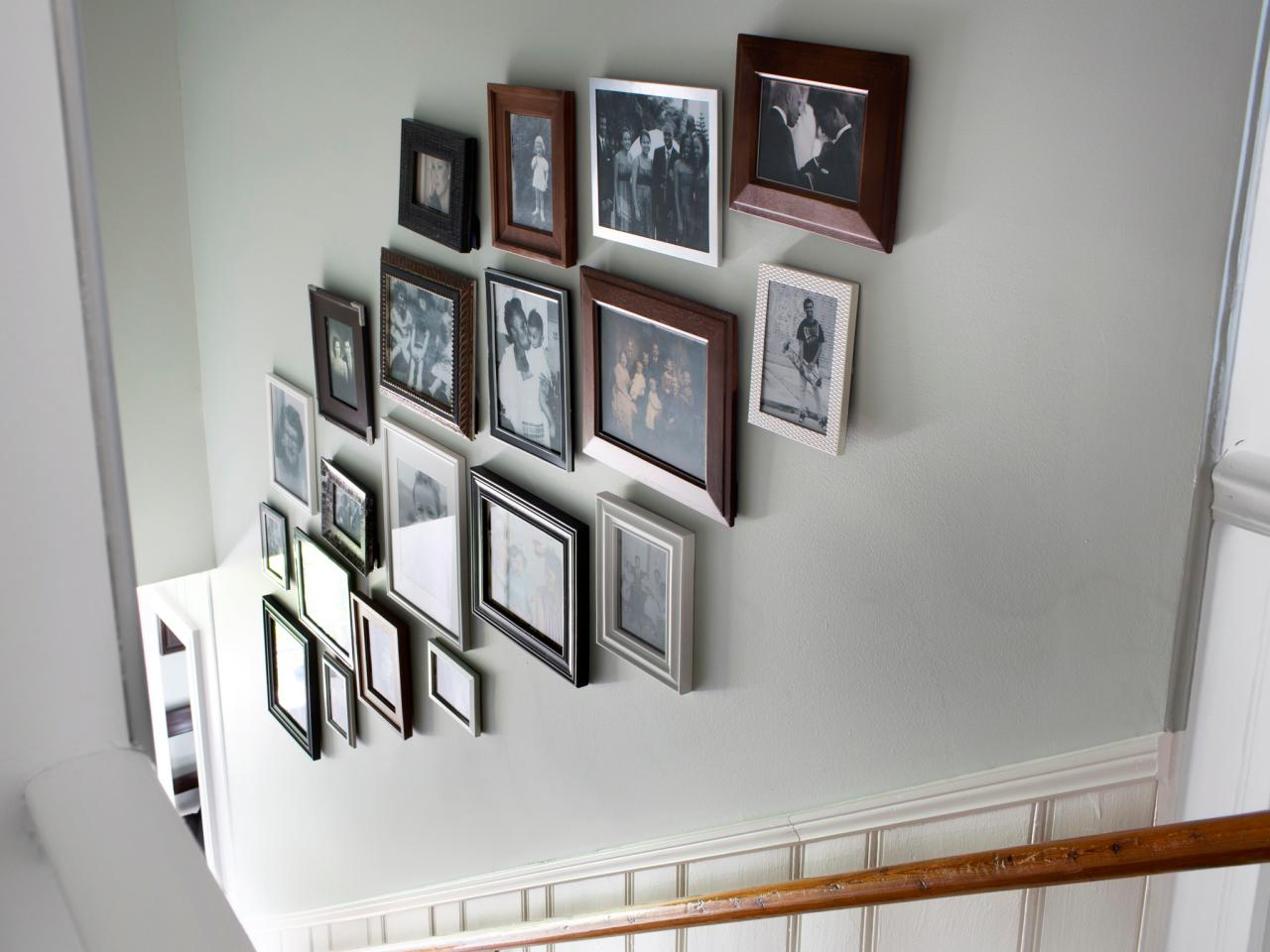 Create a gallery wall in a stairwell hgtv - Interiors by design picture frames ...