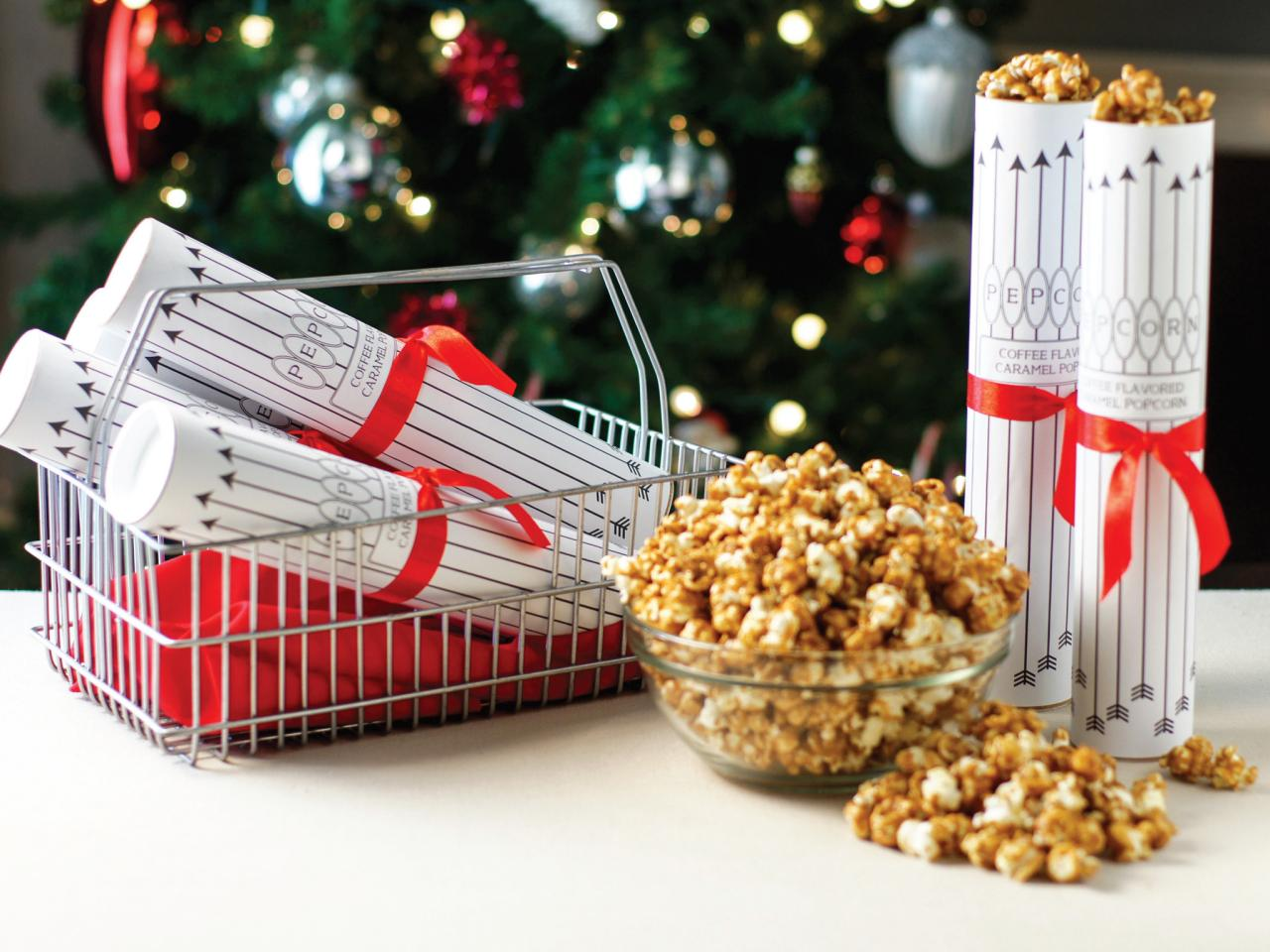 Holiday food gift coffee caramel corn recipe hgtv homemade coffee and caramel popcorn in holiday wrapping give crunchy forumfinder Images