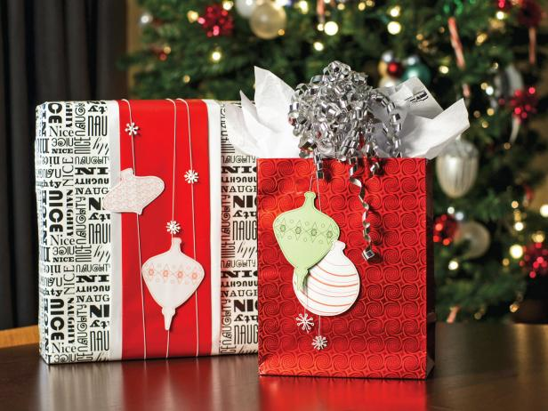 Paper ornaments on red and white gifts
