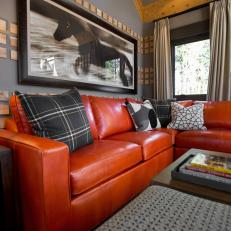 Gray Living Room With Orange Sofa