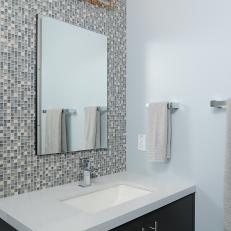 Mosaic Tile Accent Wall In Contemporary Bathroom