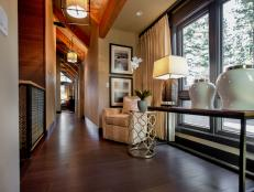Contemporary Hallway with Exposed Beam Ceilings