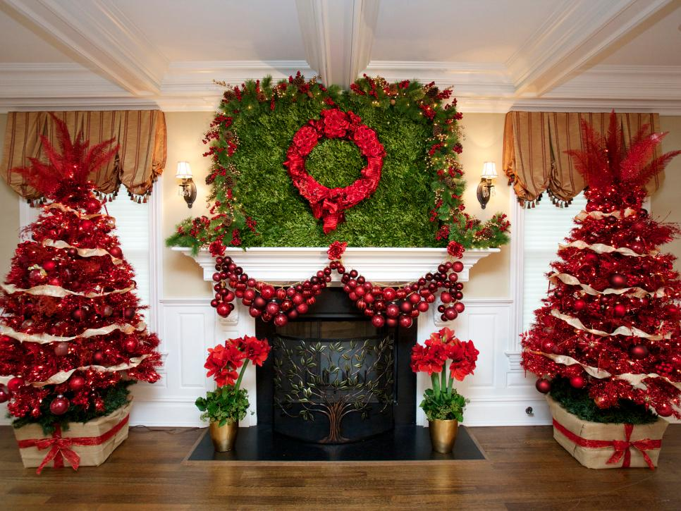 28 christmas mantel decorating ideas hgtv - Fireplace Christmas Decorations
