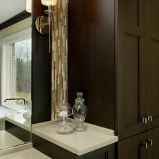 Contemporary Bathroom Vanity With Vertical Glass Backsplash
