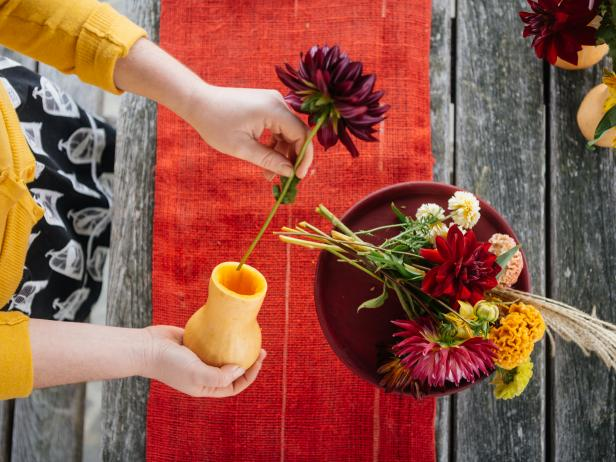 Fill Butternut Squash Vase with Colorful Flowers