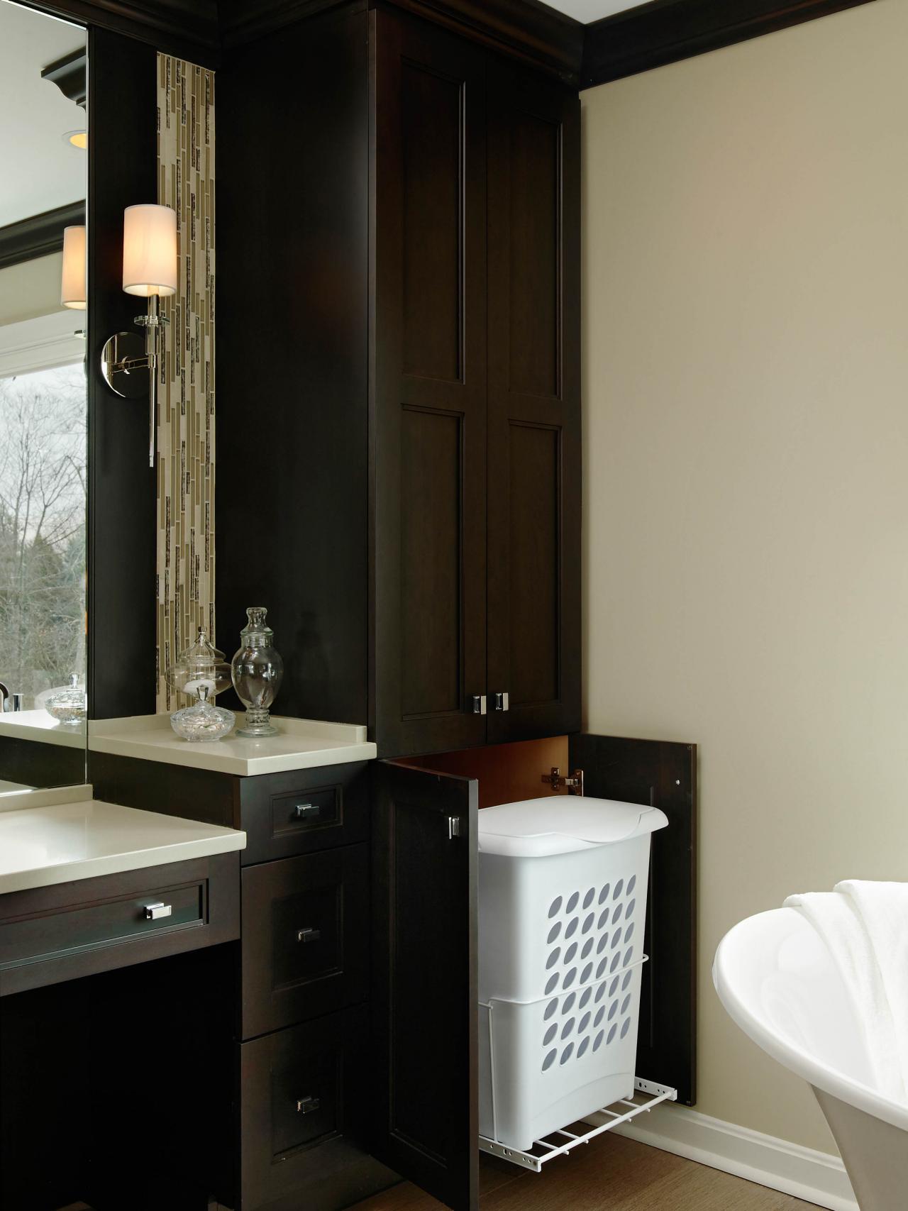 Hamper Hideaway In Custom Bathroom Cabinet