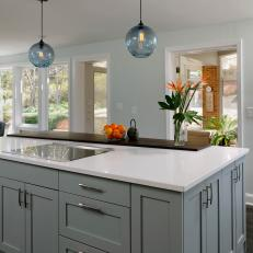 Contemporary Kitchen With Large Blue Island
