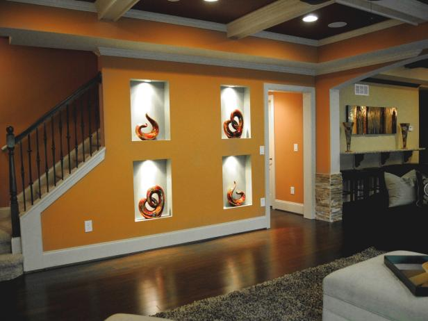 Orange Transitional Living Room with Wall Alcoves and Coffered Ceiling