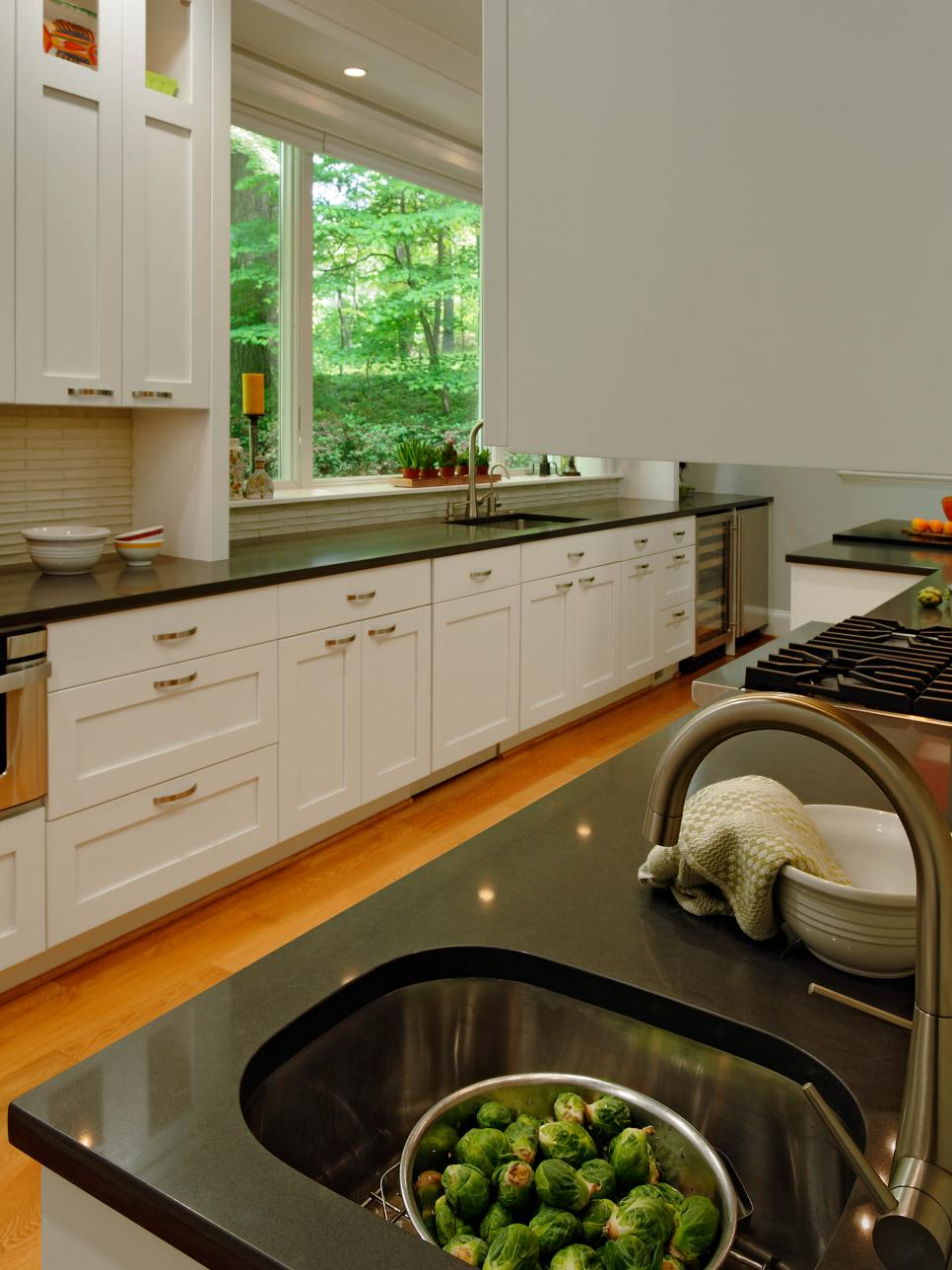 White Galley Kitchen with Wine Chiller