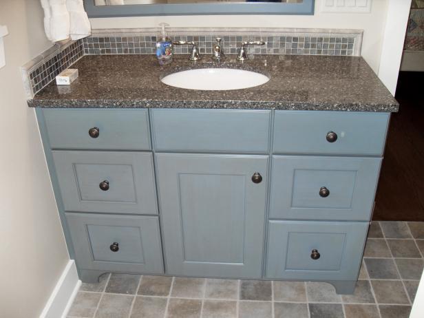 Shaker Style Bathroom Vanity With Blue Painted Finish Hgtv