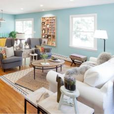 Sky Blue Cottage Style Living Room