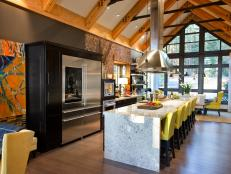 Contemporary Kitchen With Granite Waterfall Island