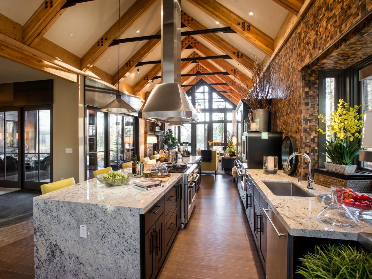 Large Open Kitchen With Long Granite Island – Hgtv Dream Home 2014 Floor Plan
