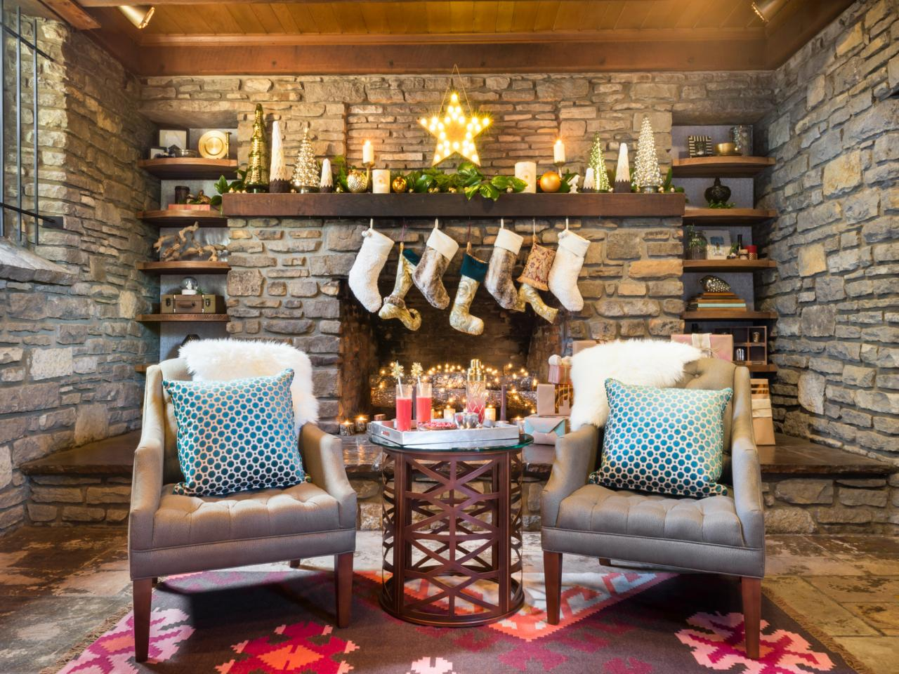 Rustic Living Room Decorated For Christmas Hgtv