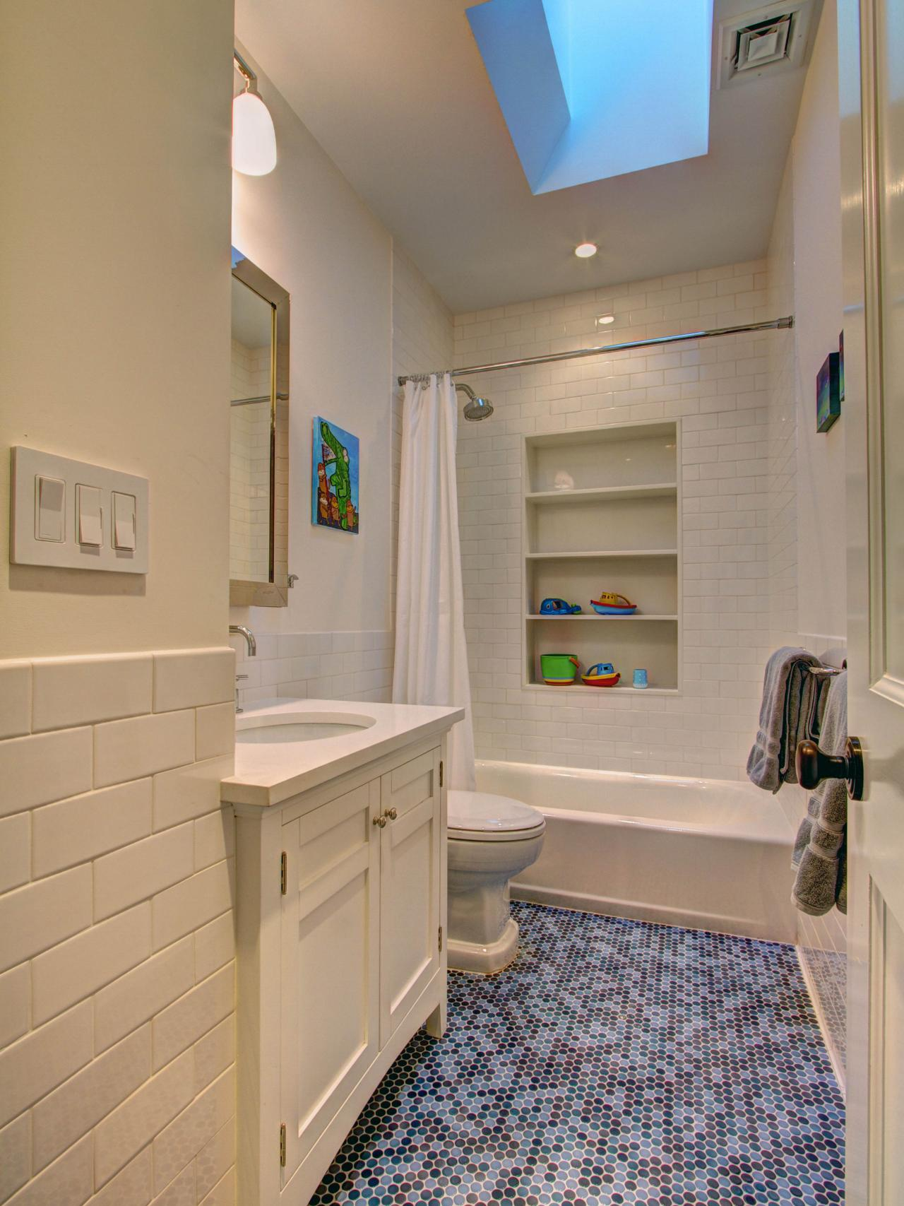 Pleasing Childrens Bathroom With Blue Penny Tile Hgtv Download Free Architecture Designs Scobabritishbridgeorg