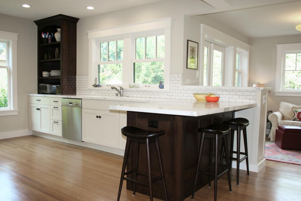 Bright White Kitchen With Wood Peninsula Hgtv