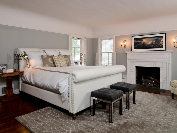 Pale Gray Transitional Bedroom With White Brick Fireplace Hgtv