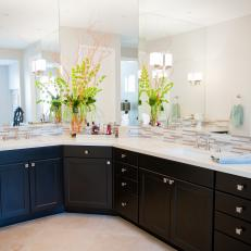 Contemporary Neutral Bathroom Features Large Double Vanity