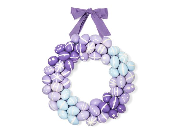 Purple and Blue DIY Easter Egg Wreath