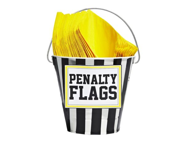 Penalty flag bucket with napkins for Super Bowl party