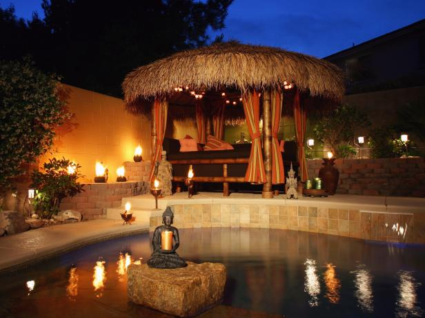 Asian Themed Swimming Pool With Tiki Style Cabana Hgtv