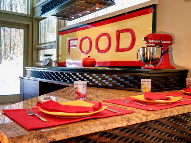 Eclectic Kitchen With Red and Yellow Decor