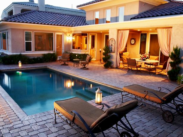 Mediterranean Stone Pool-Side Patio and Outdoor Room