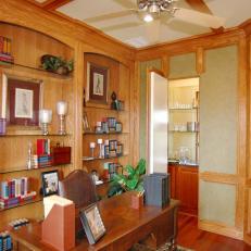 Green Craftsman Home Office With Hidden Wet Bar