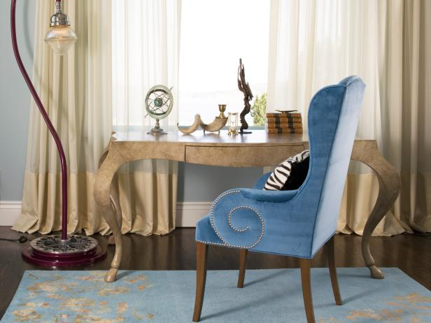 Traditional Home Office With Blue Wing Chair