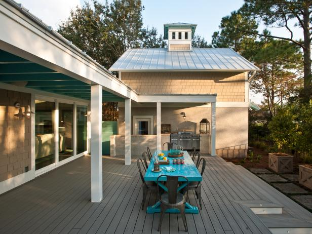 HGTV Smart Home 2013 back deck with teal table