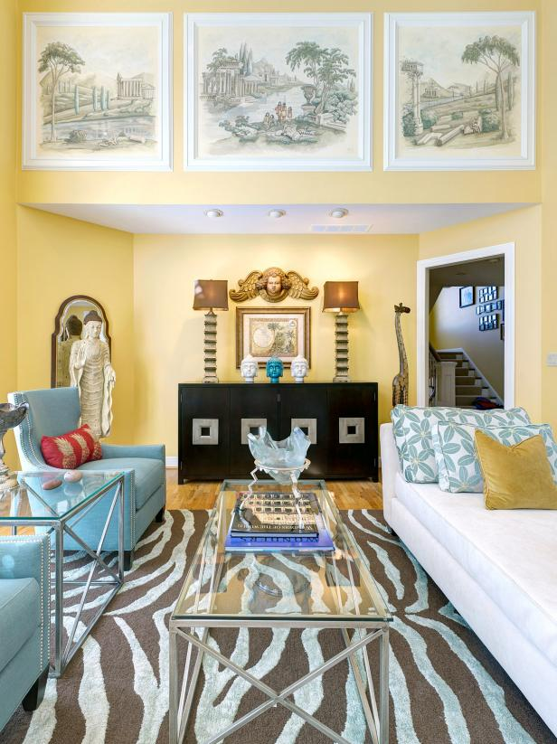 Yellow Living Room With Brown and Blue Zebra Print Rug