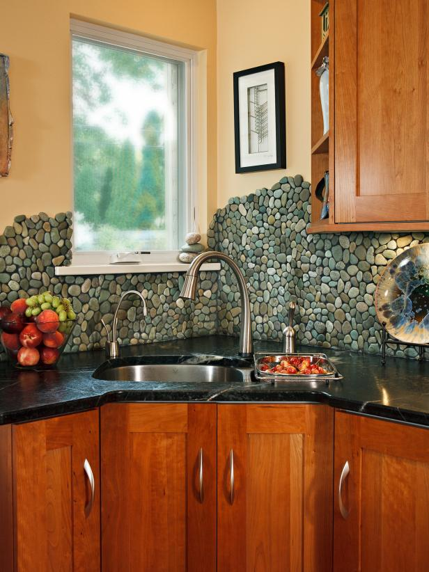 River Rock Kitchen Backsplash