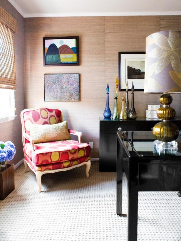 Eclectic Home Office With Yellow and Red Polka Dot Chair