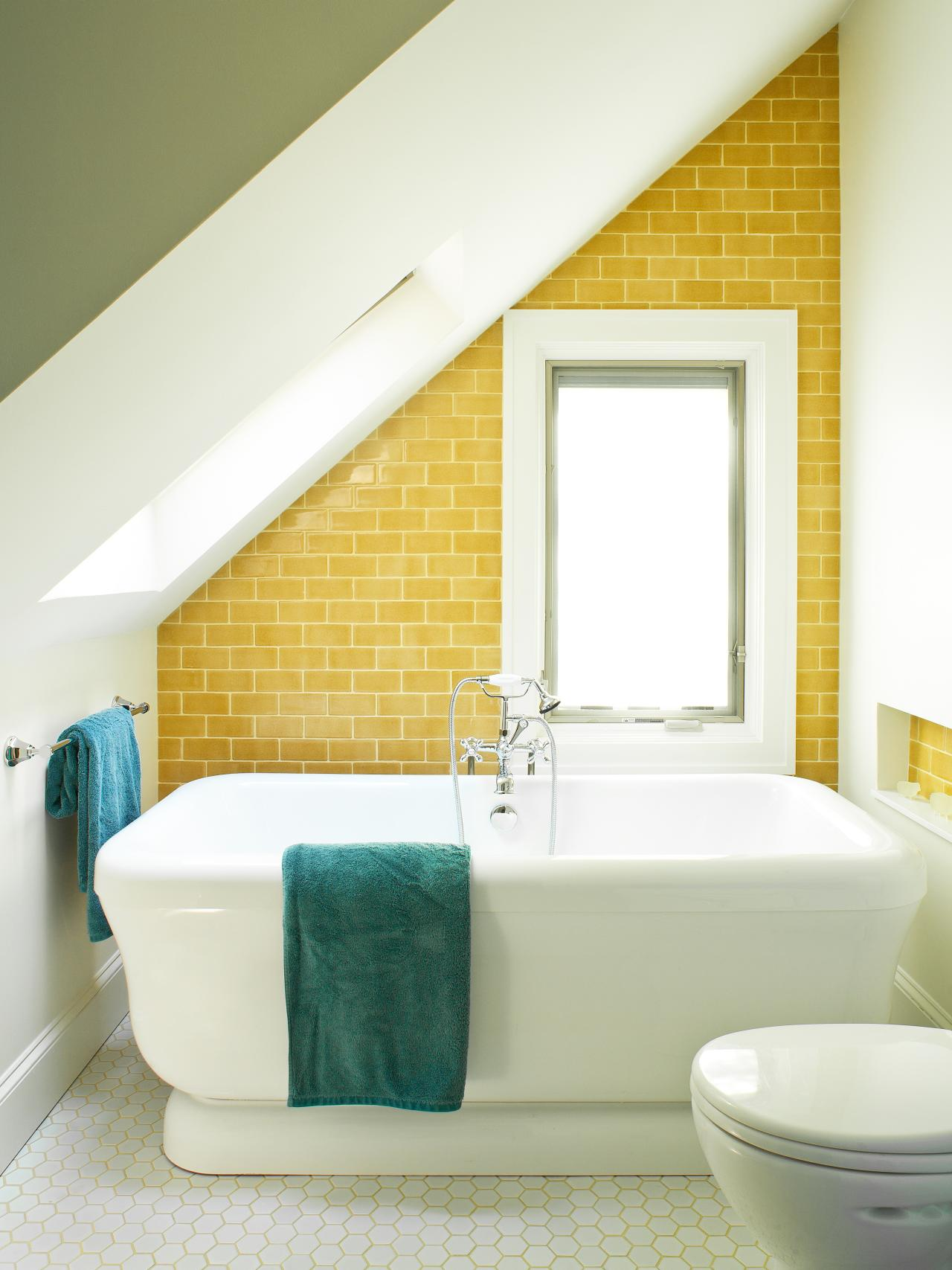 A New Take On Subway Tile. Yellow Tiled Angled Bathroom ...
