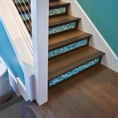 Wood And Blue Gl Tile Staircase With Modern Railing