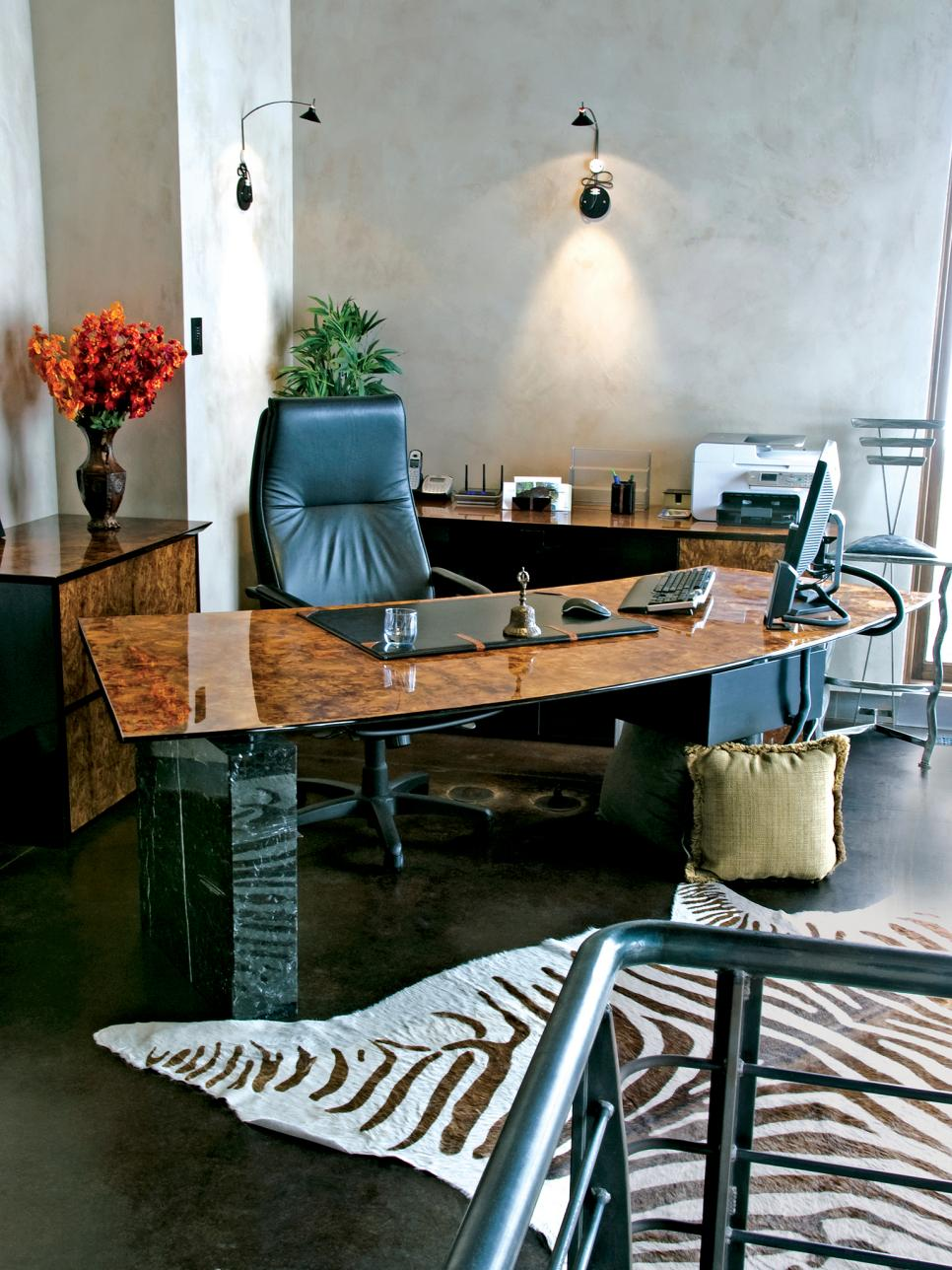 Eclectic Office With Zebra Rug