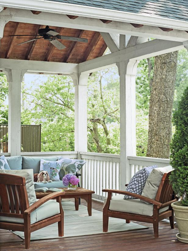 Brown and White Porch With Ceiling Fan