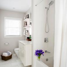 White Contemporary Bathroom Vanity and Shower