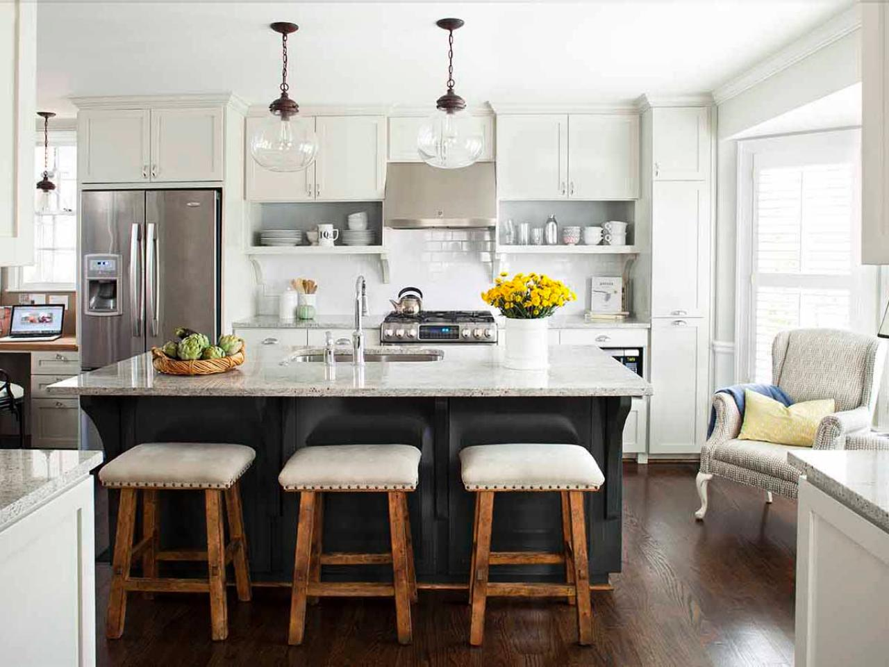 kitchen islands seating gray and white kitchen with island seating hgtv 13614