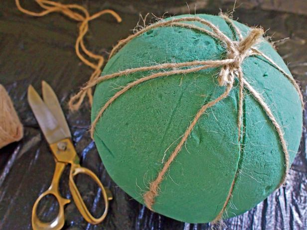 Tie Twine Around Foam Sphere