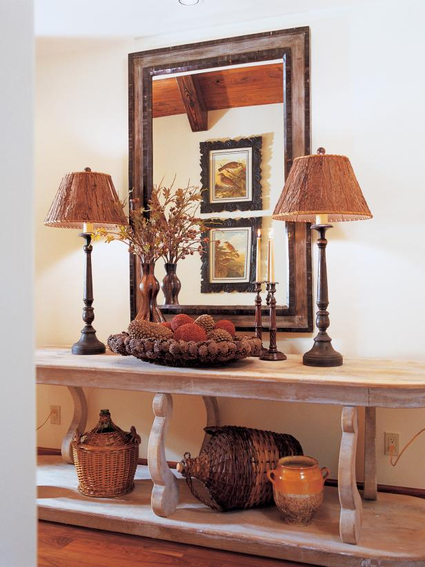 Country Foyer With Matching Lamps
