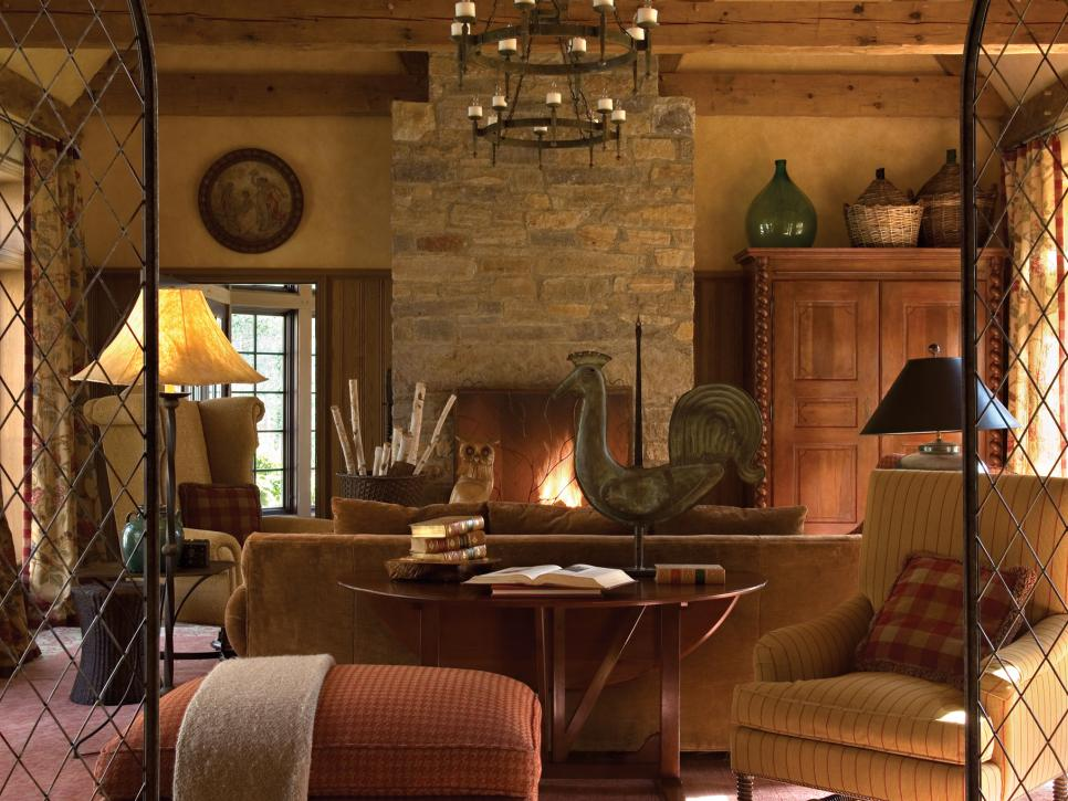 Rustic Family Room With Iron Chandelier & Stone Fireplace