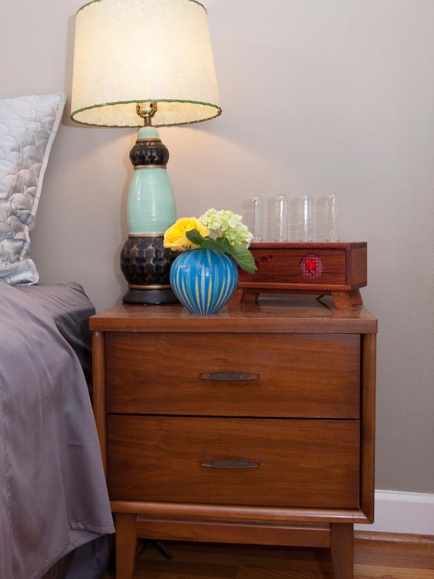 Mid-Century Modern Nightstand With Fresh Flowers