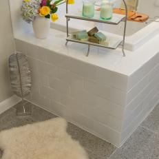 Modern White Subway Tile Surrounds Bathtub