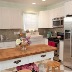 Light Green Country Kitchen With White Island