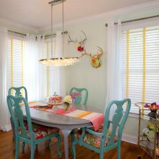 Eclectic Mint Dining Room With Turquoise Chairs