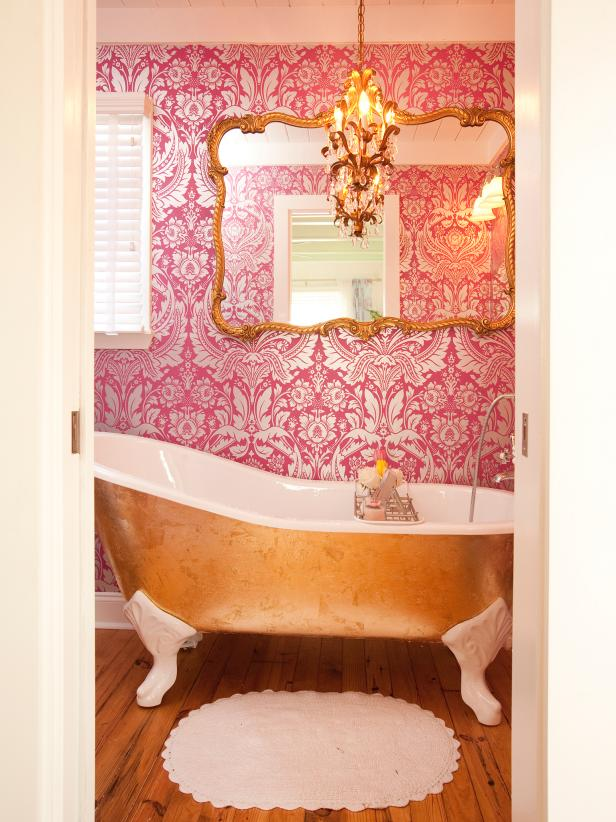 Clawfoot Bathtub with Gold Leaf